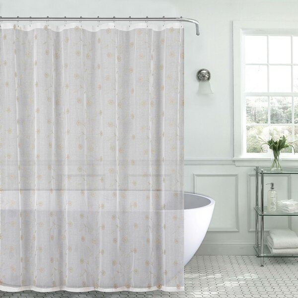 Mirtha Metallic Daisy Embroidered Sheer Fabric Shower Curtain by Red Barrel Studio