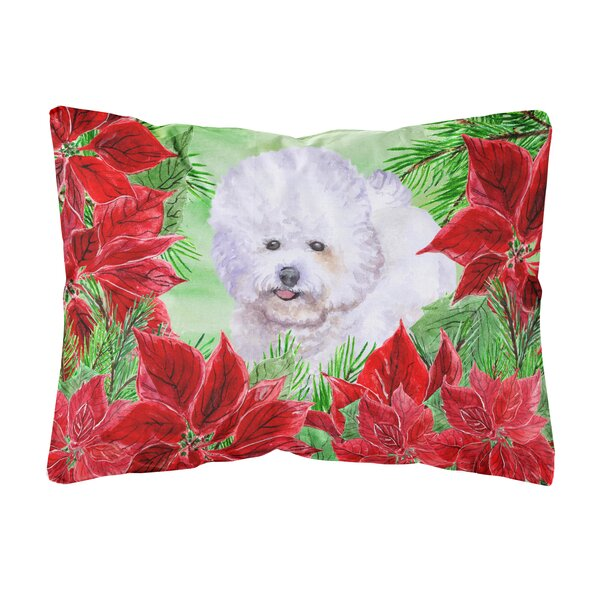 Issleib Bichon Frise Poinsettas Fabric Indoor/Outdoor Throw Pillow by The Holiday Aisle