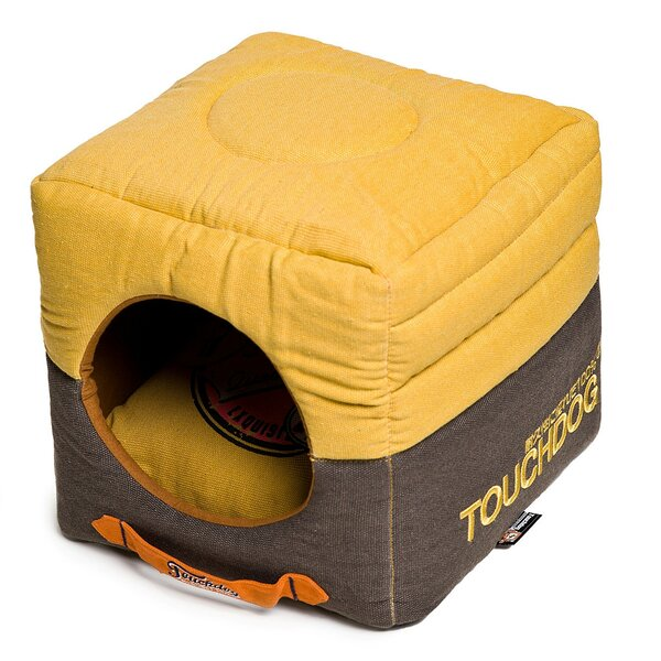 Convertible and Reversible Vintage Printed Squared 2-in-1 Collapsible Dog House Bed by Pet Life