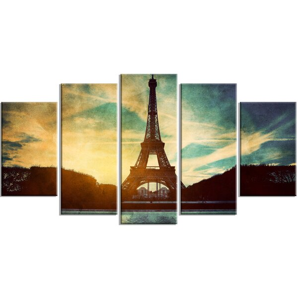 Eiffel Tower Retro Style Cityscape 5 Piece Photographic Print on Wrapped Canvas Set by Design Art