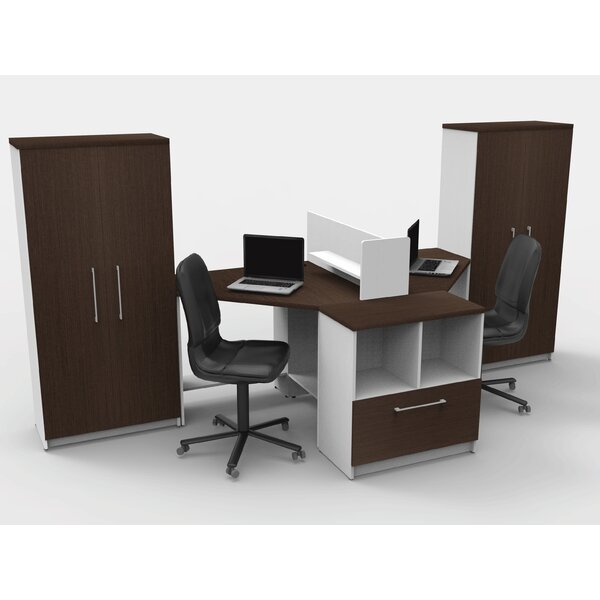 Triangular Corner 6 Piece L-Shaped Desk Office Suite by TeamCENTERoffice