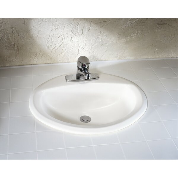 Aqualyn Ceramic Oval Drop-In Bathroom Sink with Overflow by American Standard