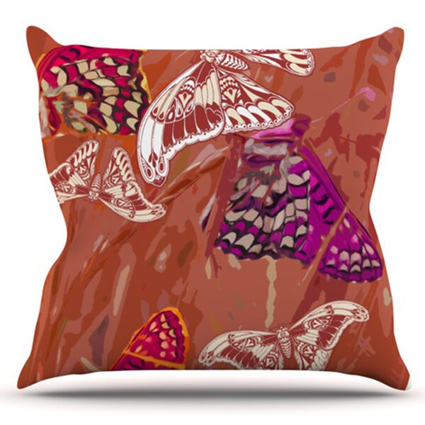 Butterflies Party by Vikki Salmela Outdoor Throw Pillow by East Urban Home
