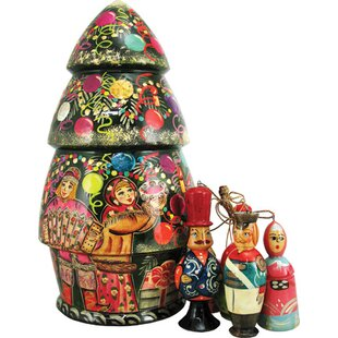 russian christmas tree nested doll hanging figurine