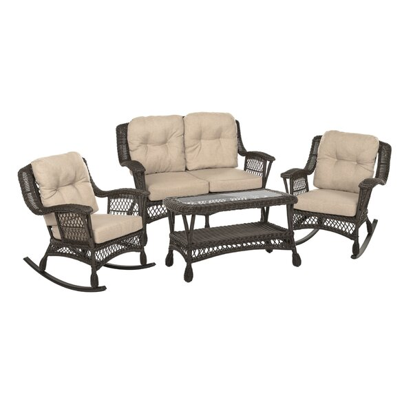 Irene 4 Piece Rattan Sofa Seating Group with Cushions by Bayou Breeze