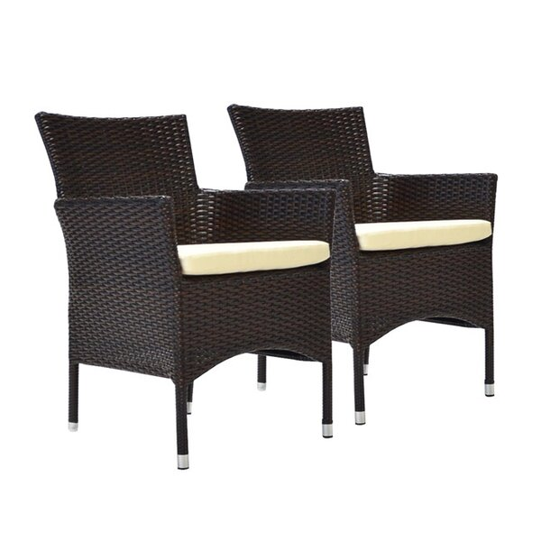Gemmill Stacking Patio Dining Chair with Cushion (Set of 2) by Wrought Studio