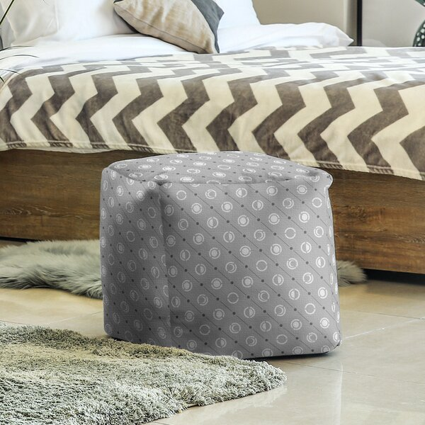 Two Color Moon Phases Cube Ottoman by East Urban Home