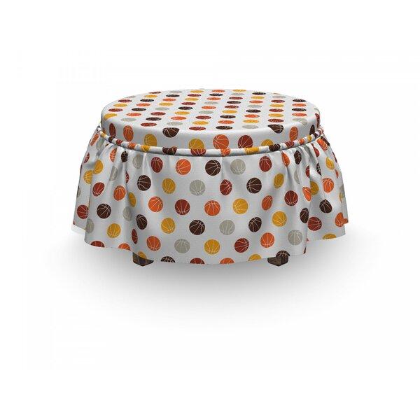 Basketball Earthen Toned Balls 2 Piece Box Cushion Ottoman Slipcover Set By East Urban Home
