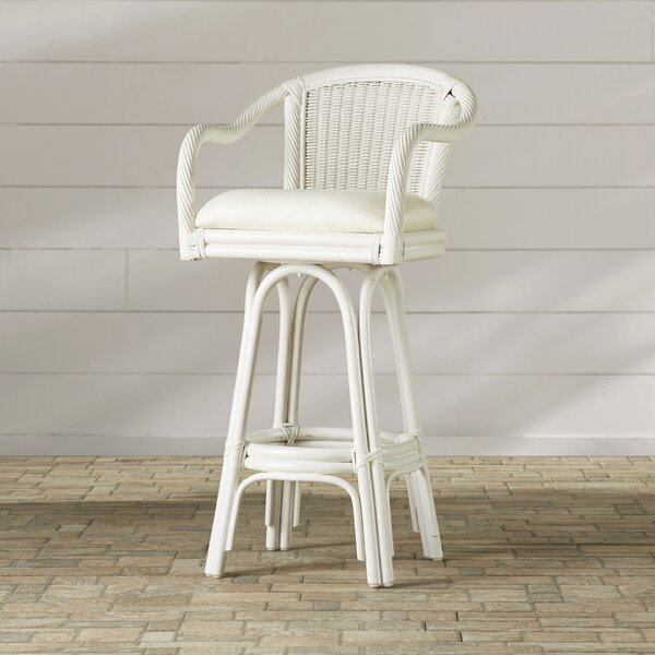 Edgerly Swivel Bar Stool with Cushion by Beachcrest Home