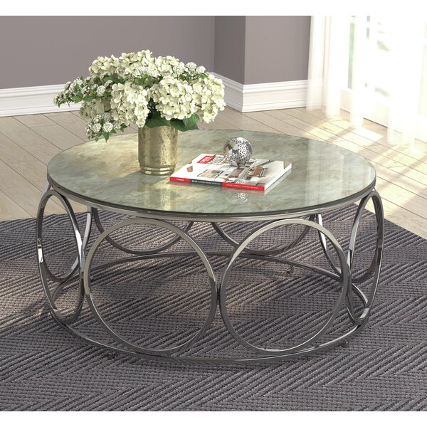Round Coffee Table With Casters Beige Marble And Chrome By Orren Ellis