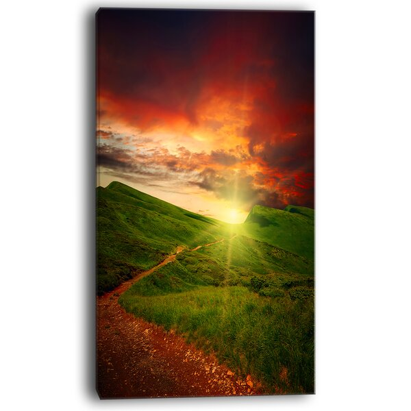 Majestic Sunset and Path in Meadow Photographic Print on Wrapped Canvas by Design Art