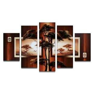 'Modern African Nature Tree' 5 Piece Painting on Canvas Set