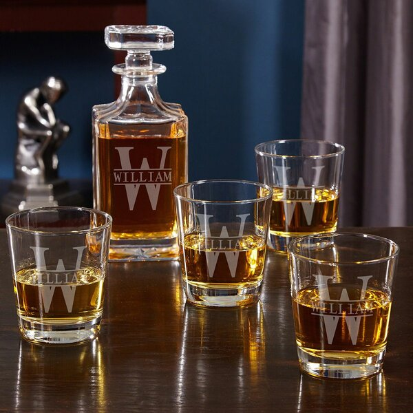 Kaity Engraved Whiskey 5 Piece Beverage Serving Set by Darby Home Co