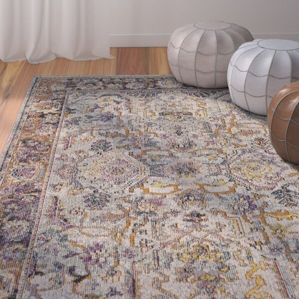 Elegy Light Blue/Orange Area Rug by Bungalow Rose