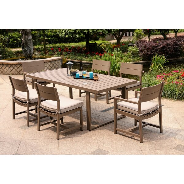 Daly 7 Piece Dining Set with Cushions by Modern Rustic Interiors