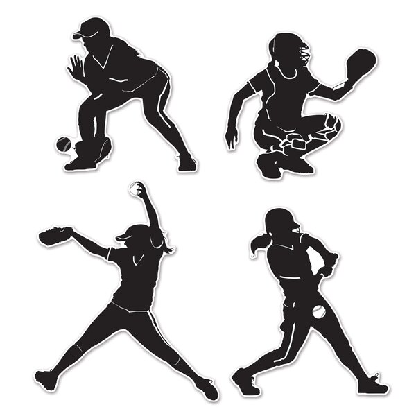 4 Piece Softball Silhouette Standup Set (Set of 6) by The Beistle Company