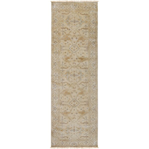 Kangley Oriental Hand-Knotted Wool Beige Area Rug