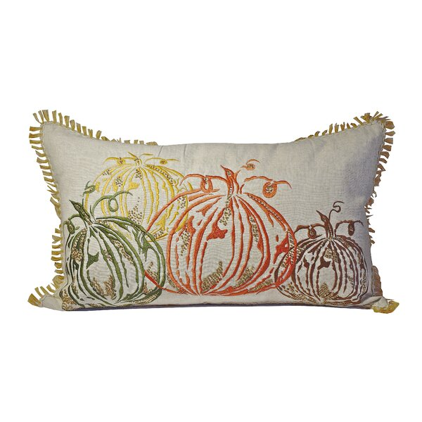 Four Pumpkins Cotton Lumbar Pillow by Debage Inc.