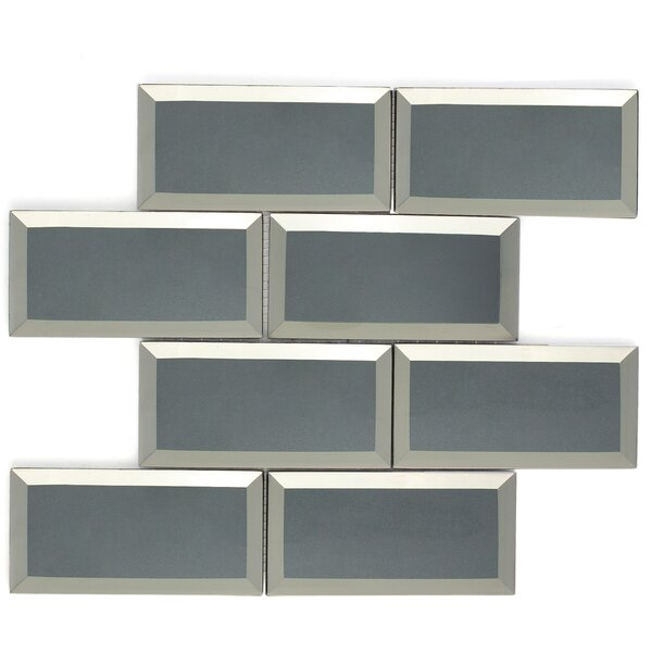 Inner Reflections Mirror Look 3 x 6 Beveled Glass Mosaic Tile in Gray by Multile