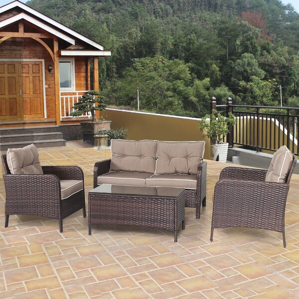 Gunhilda Outdoor 4 Piece Rattan Sofa Seating Group with Cushions by Latitude Run