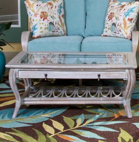 Presley Glass Top Coffee Table with Drawer by Bay Isle Home Bay Isle Home