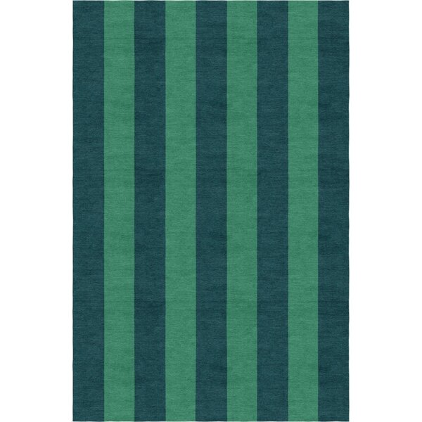 Wathen Stripe Hand-Woven Wool Green/Teal Area Rug by Breakwater Bay