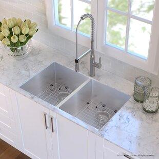 Handmade 16 Gauge Stainless Steel 32.75 L x 19 W Undermount Kitchen Sink and Faucet ByKraus