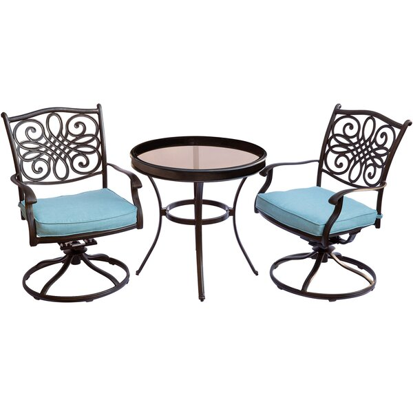 Lauritsen 3 Piece Bistro Set with Cushions by Three Posts