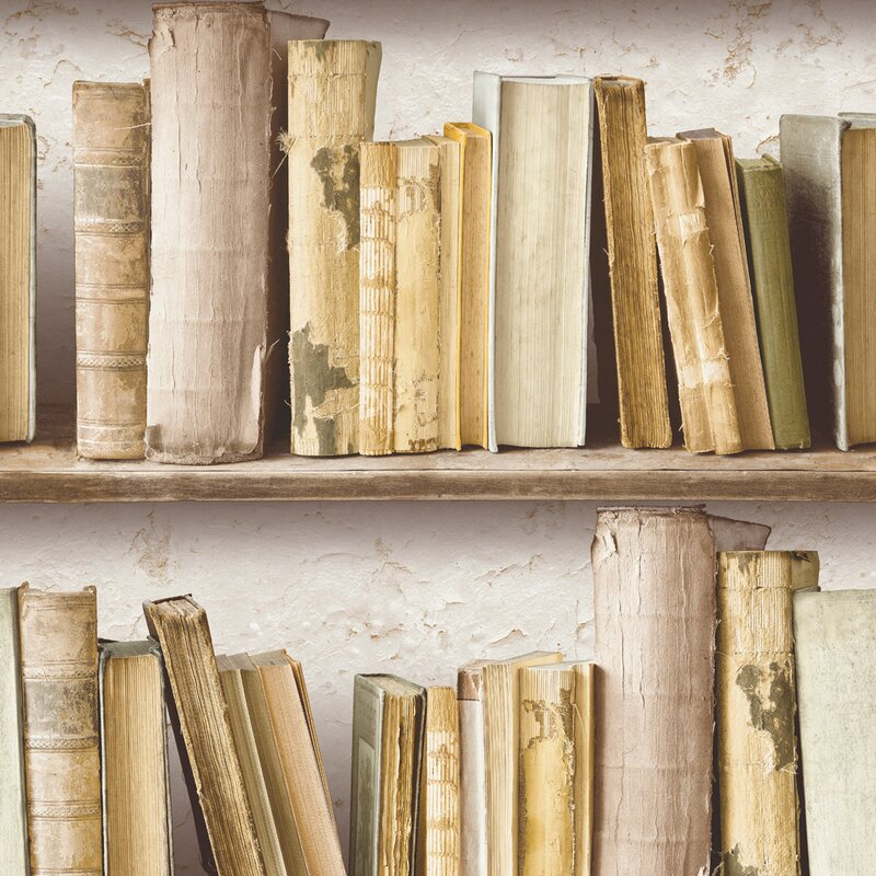 "Rustic Contemporary Vintage Bookshelf 32.97' x 20.8"" Wallpaper"