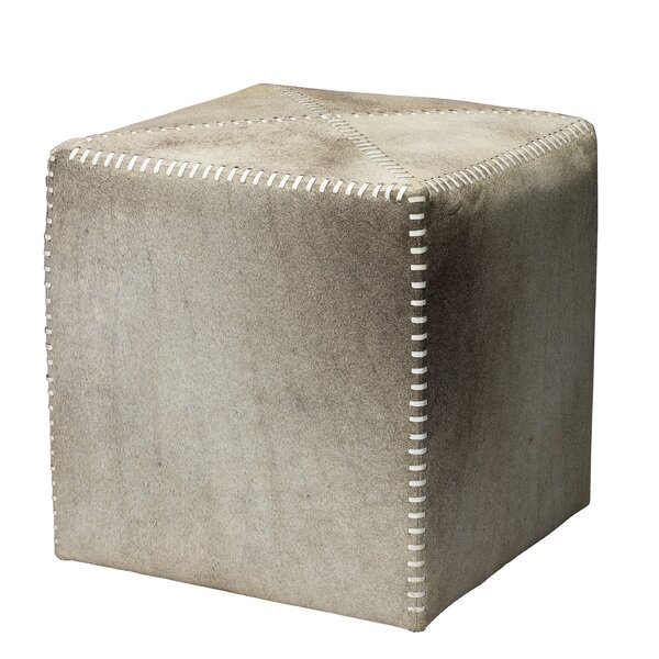 Check Price Gillian Leather Cube Ottoman