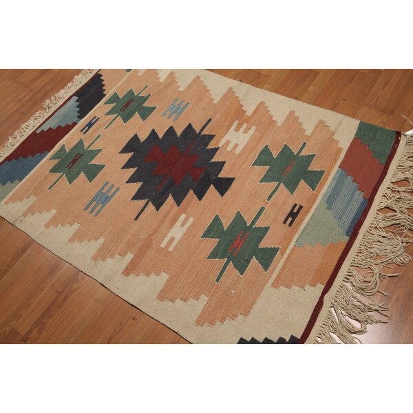 One-of-a-Kind Birdsview Dhurry Kilim Reversible Hand-Woven Orange/Blue Area Rug by Foundry Select