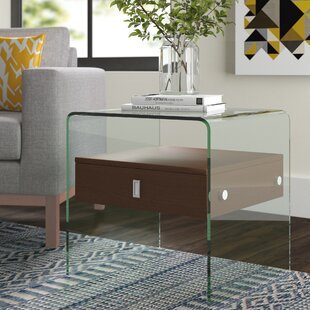 Reviews Joaquin End Table with Tempered Glass By Wade Logan
