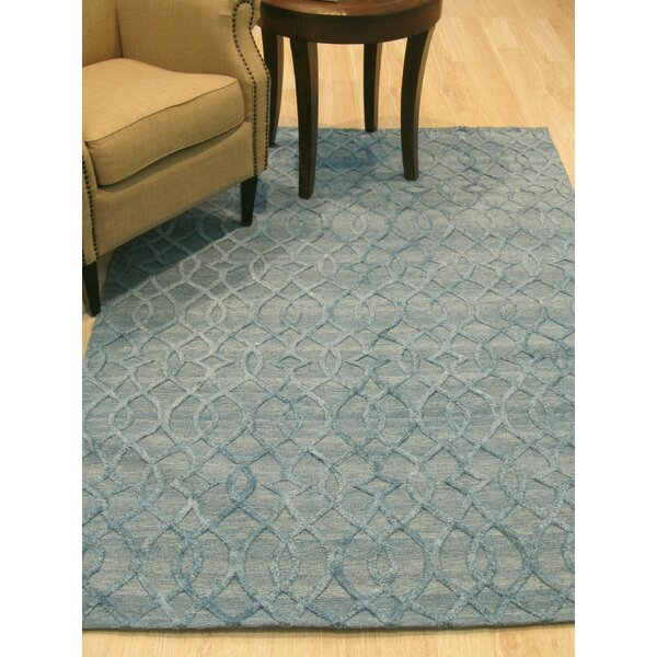 Oscar Traditional Hand-Woven Wool Gray/Blue Area Rug by Red Barrel Studio