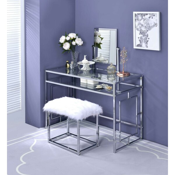 Paignt Vanity Set With Stool And Mirror By Rosdorf Park