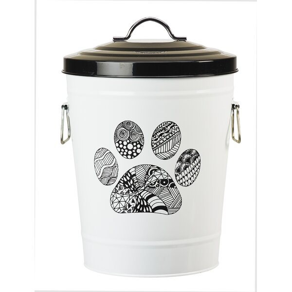 Zentangle Paw Food Bin Pet Treat Jar by Global Amici