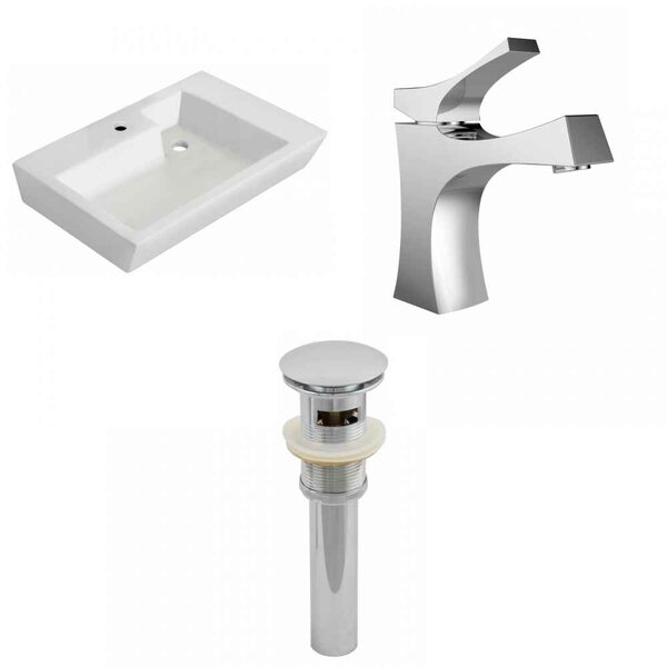 Ceramic 26 Wall-Mount Bathroom Sink with Faucet and Overflow by Royal Purple Bath Kitchen