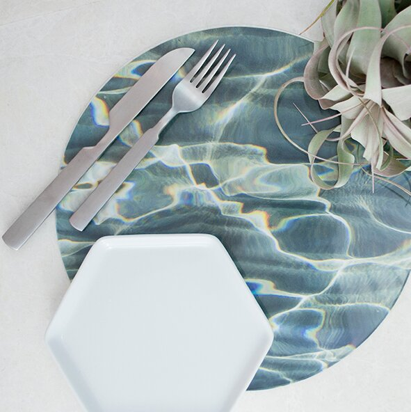 Nature Aqua Placemat (Set of 4) by Victoria Lekach