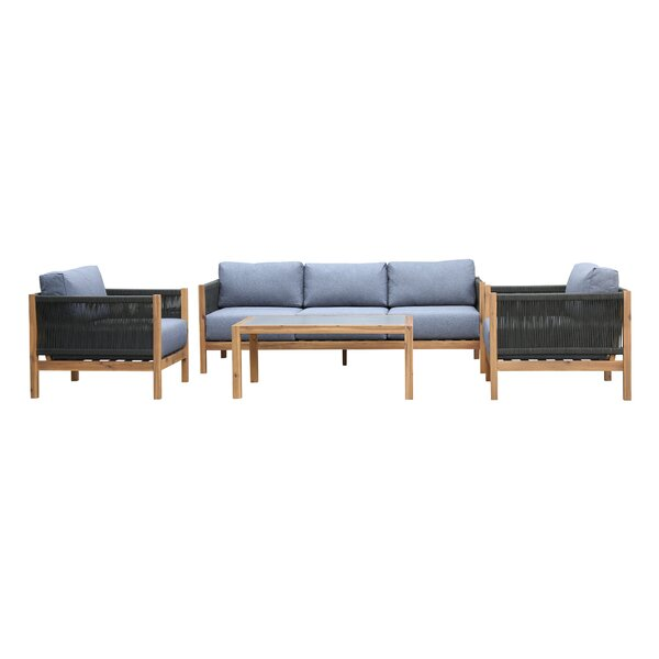Gino 4 Piece Sofa Seating Group with Cushions by Bayou Breeze