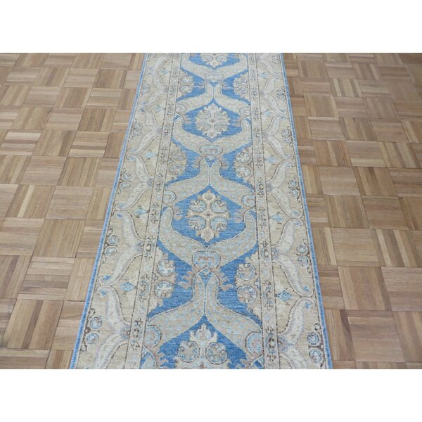 One-of-a-Kind Railsback Oushak Hand-Knotted Wool Blue Area Rug by Astoria Grand