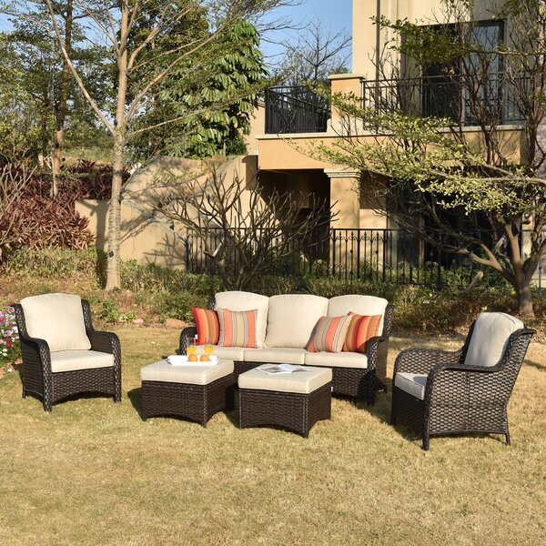 Geers 5 Piece Rattan Sofa Seating Group with Cushions
