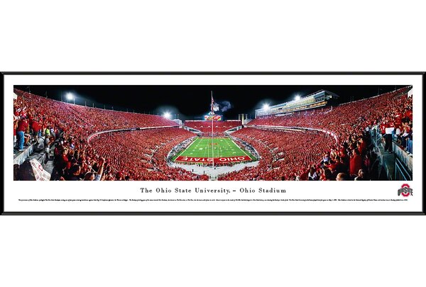NCAA Ohio State University - Football - End Zone Framed Photographic Print by Blakeway Worldwide Panoramas, Inc