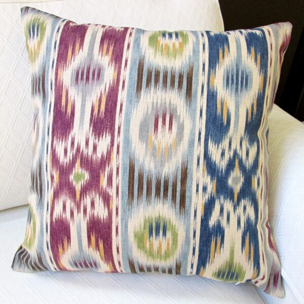 Ikat Striped Abstract Stripe Modern Geometric Indoor Cotton Throw Pillow by Artisan Pillows