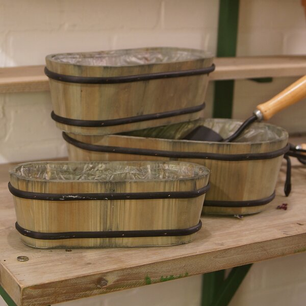 3-Piece Wood Barrel Planter Set by American Mercantile