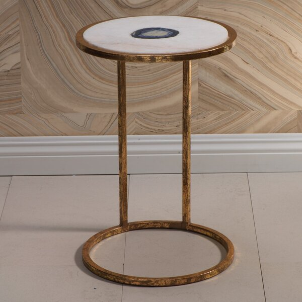Aquarius 20-inch Tall Marble And Inlaid Agate End Table By Mercer41