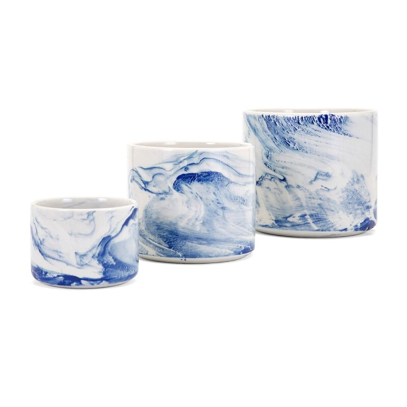 Chilcompton Faux Marble 3-Piece Ceramic Pot Planter Set