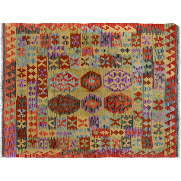 Sinclair Hand-Woven Wool Red/Blue Area Rug by Isabelline
