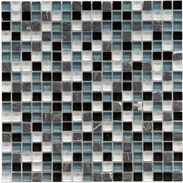 Sierra 0.58 x 0.58 Glass and Natural Stone Mosaic Tile in Black/White by EliteTile