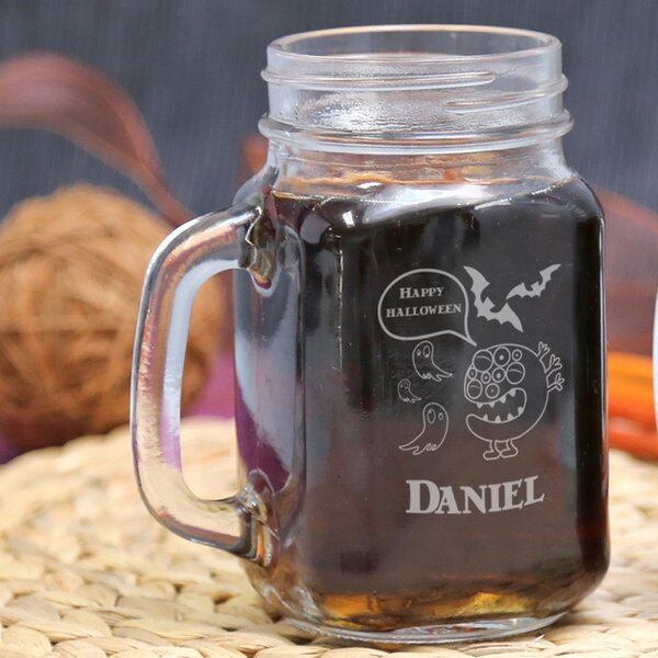 Personalized Halloween Glass 16 oz. Mason Jar by Monogramonline Inc.