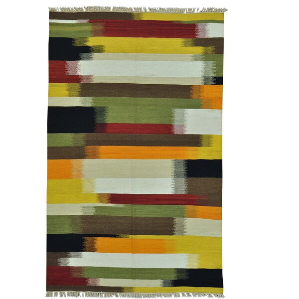 Durie Kilim Flat Weave Oriental Hand-Knotted Yellow/Green Area Rug by Bloomsbury Market
