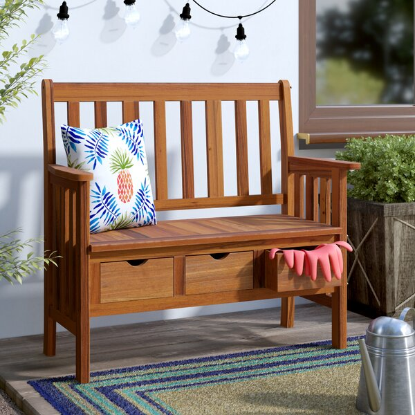 Pine Hills 3 Drawer Wood Garden Bench by Beachcrest Home